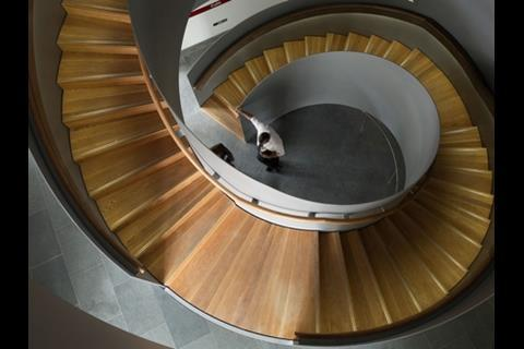 This spiral staircase in the educational facility was built from the top down